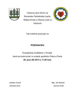 Cirkevný zbor ECAV na Slovensku Partizánska Ľupča