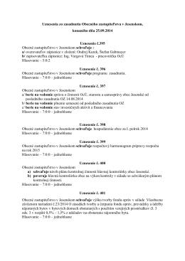 Uznesenie Obecného zastupiteľstva za mesiac