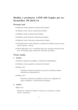 Skúška z predmetu 1-INF-450 Logika pre in