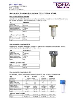 Aquina filtre fws euro plast - certuss