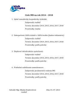 Ciele IMS na rok 2014 – 2018