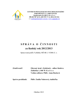 SPR Á VAO Č INNOSTI za školský rok 2012/2013