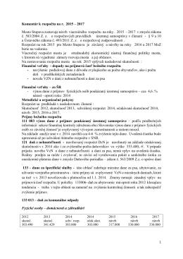 Komentár k rozpočtu na r. 2015 – 2017 Mesto Stupava zostavuje