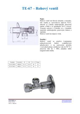 TE-67 – Rohový ventil