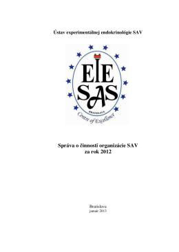 Správa o činnosti organizácie SAV za rok 2012