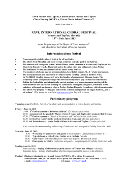 26th International choral festival - Basic information and