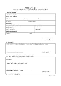 Prihláška na pomaturitné štúdium na stiahnutie