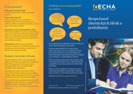 Bezpečnosť chemických látok a podnikanie - ECHA