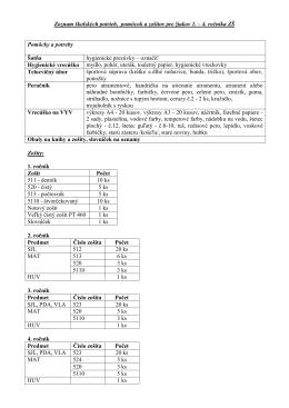 Zoznam školských potrieb, pomôcok a zošitov pre žiakov 1