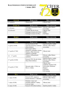 Kalendár kultúrnych podujatí na rok 2011