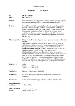 Premal THERMO – Technický list
