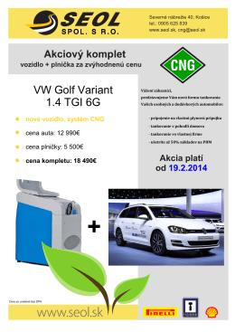 VW Golf Variant 1.4 TGI 6G + CNG plnička MJC 05