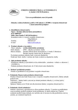 STREDNÁ ODBORNÁ ŠKOLA AUTOMOBILOVÁ J. Jonáša 5, 843