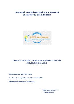 Výročná správa 2012 - Súkromná stredná odborná škola technická