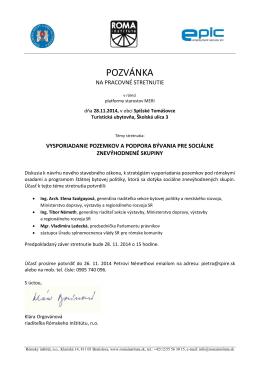 POZVÁNKA - Rómsky inštitút