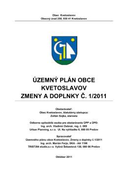 územný plán obce kvetoslavov zmeny a doplnky č. 1/2011