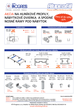akcia na hliníkové profily, nábytkové dvierka a spodné
