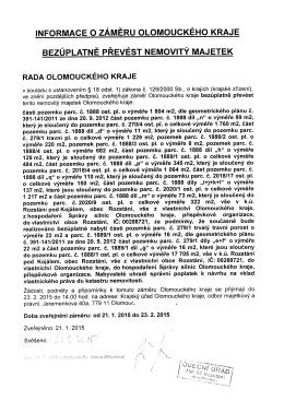 Informace o záměru Olomouckého kraje bezúplatně převést