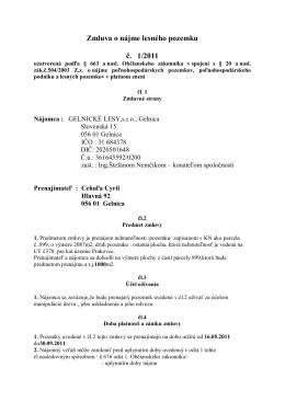 Zmluva o nájme lesného pozemku č. 1/2011
