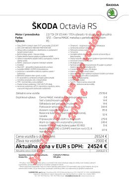 Octavia 2,0 TDI 125 kW RS - Euromotor spol. sro