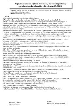 Zápis zo zasadania Výboru Slovenskej psychoterapeutickej