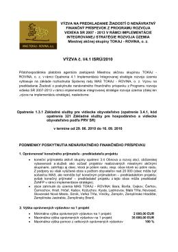 výzva na predkladanie žiadostí o nenávratný - Tokaj