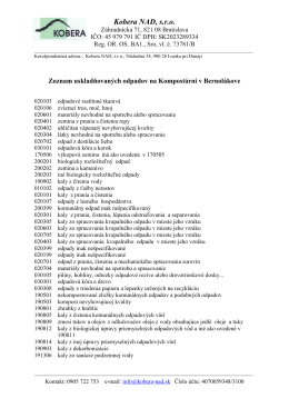 Zoznam uskladovanch odpadov v BE - 1.12.2012