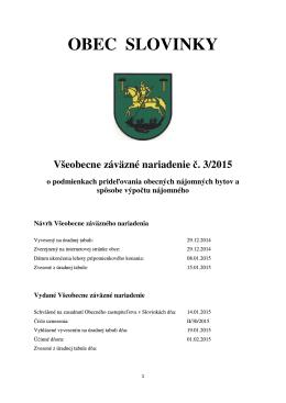 č. 3/2015 o podmienkach prideľovania obecných