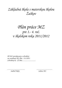Plán práce MZ