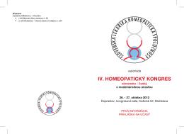 IV. HOMEOPATICKÝ KONGRES - slovenská lekárska homeopatická