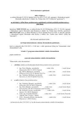Návrh uznesenia č. 1