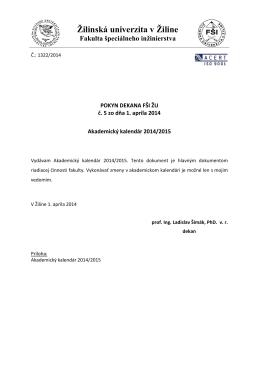akademický kalendár roku 2014/2015