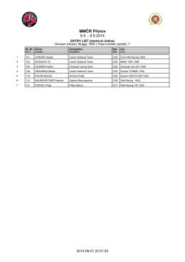 Seznam přihlášených jezdců 1.6.2014