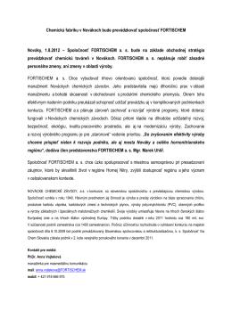 Chemickú fabriku v Novákoch bude prevádzkovať spoločnosť