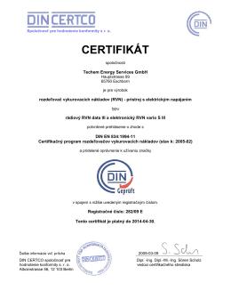 Certifikát RVN data III / vario S