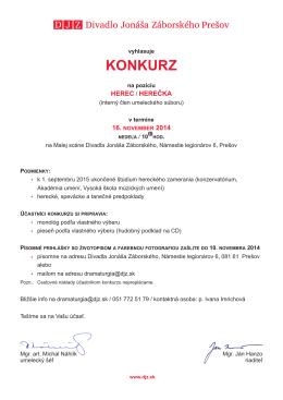 Konkurz 2014 - Divadlo Jonáša Záborského
