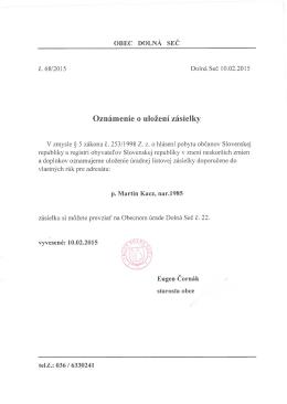 Obec Dolná Seč - oznámenie o uložení zásielky pre M. Kacz
