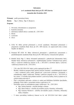 Informácia zo 4. zasadnutia Rady školy pri ZŠ s MŠ Likavka