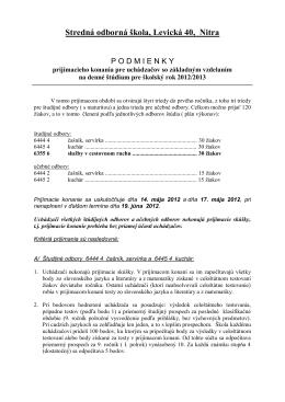 Stredná odborná škola, Levická 40, Nitra
