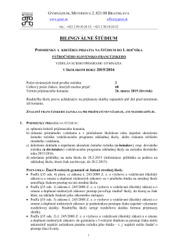 bilingválne štúdium - GYMNÁZIUM, Metodova 2, Bratislava
