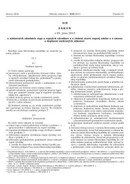 zákon č. 218/2013 Z.z. o núdzových zásobách ropy a ropných