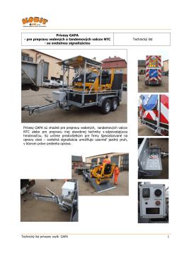 Technický list prívesny vozík GAPA