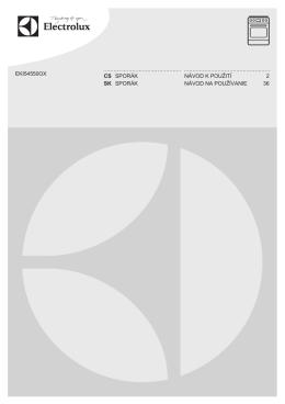 f=electrolux-eki54550ox-navod-k-pouziti.pdf;EKI54550OX CS SPORÁK NÁVOD K POUŽITÍ 2 SK