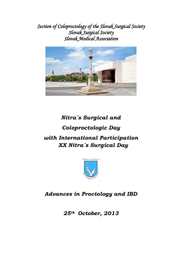 Nitra´s Coloproctologic Day with International Participation XX Nitra