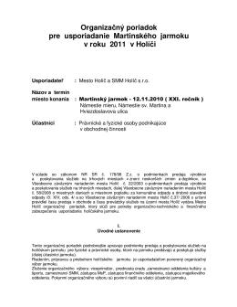 Organizačný poriadok pre usporiadanie
