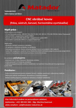 CNC obrábač kovov - MATADOR Industries