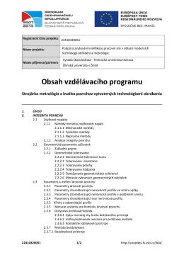 Obsah vzdělávacího programu - Vysoká škola báňská
