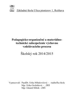 Školský rok 2014/2015 - Základná škola Ulica pionierov