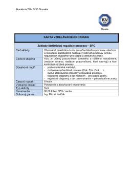 Základy štatistickej regulácie procesov - SPC