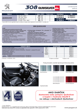 Špecifikáciu Peugeot 308 Quiksilver v slovenskom jazyku z roku